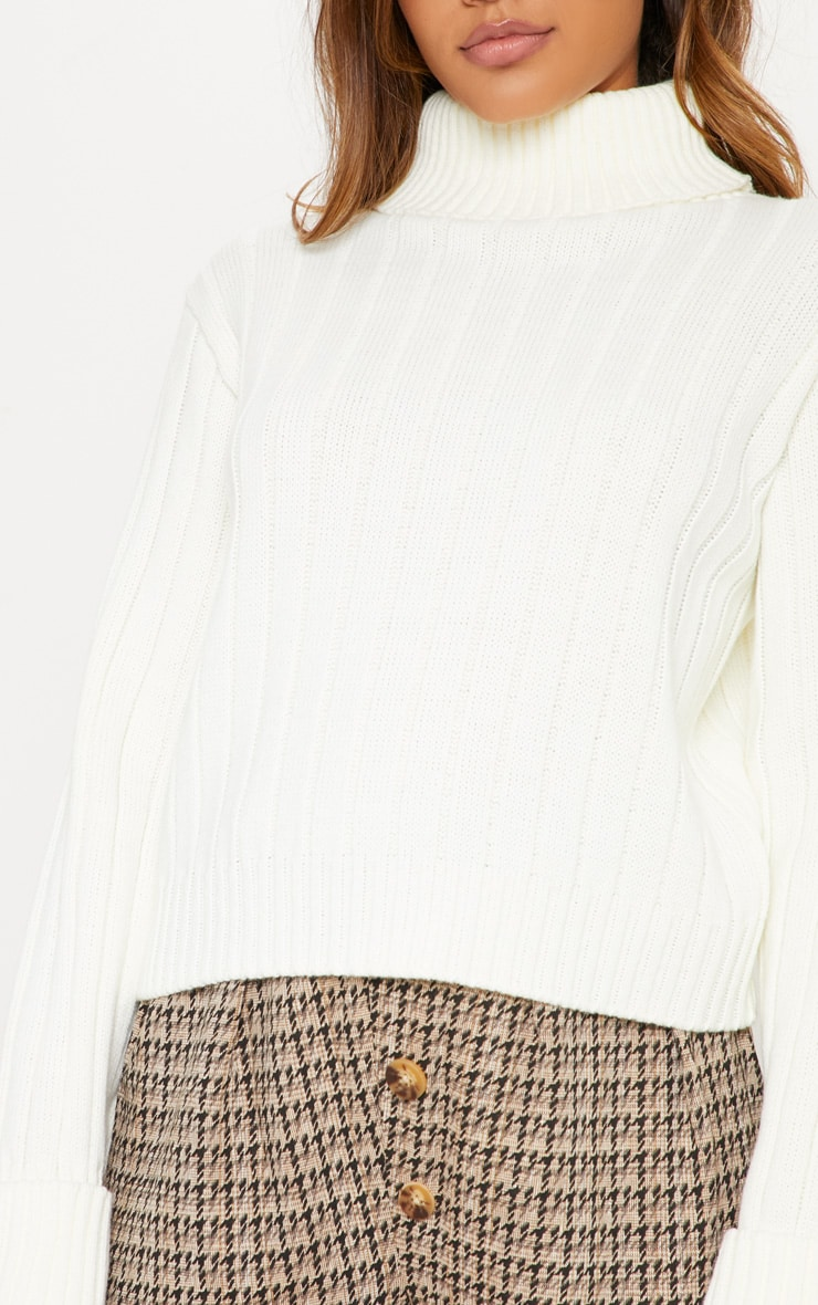 Cream Chunky Ribbed High Neck Sweater 6