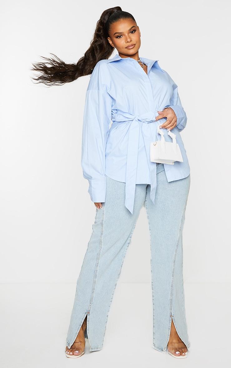 Plus Blue Tie Side Detail Poplin Shirt 1