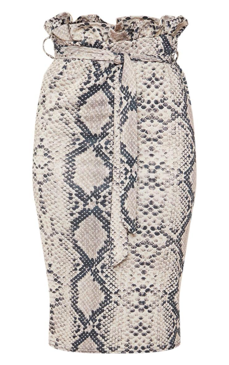 Snake Print Paperbag Midi Skirt 3