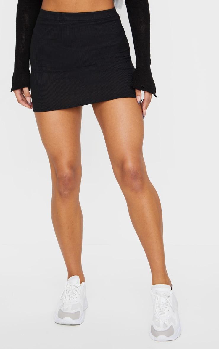 Black Ribbed Mini Skirt 2
