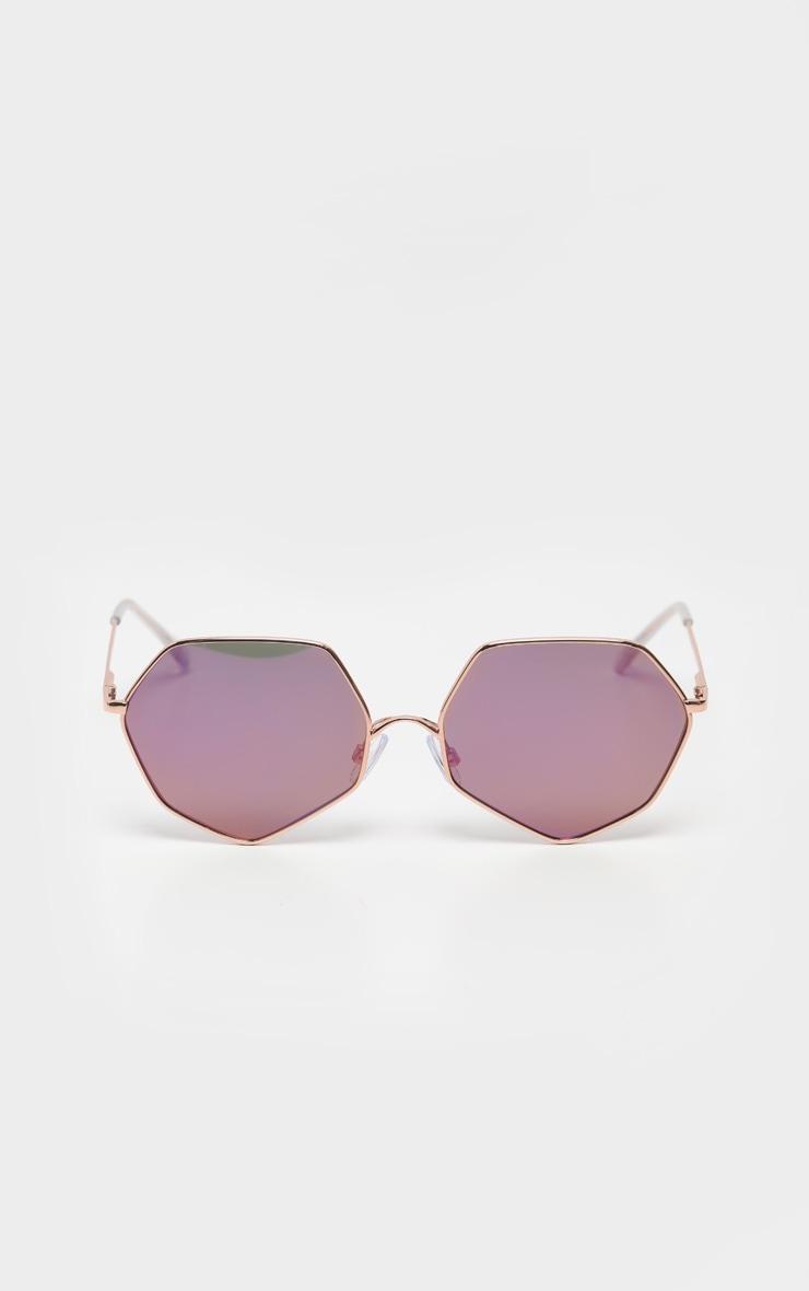 Gold Frame Lilac Revo Hexagon Sunglasses 2
