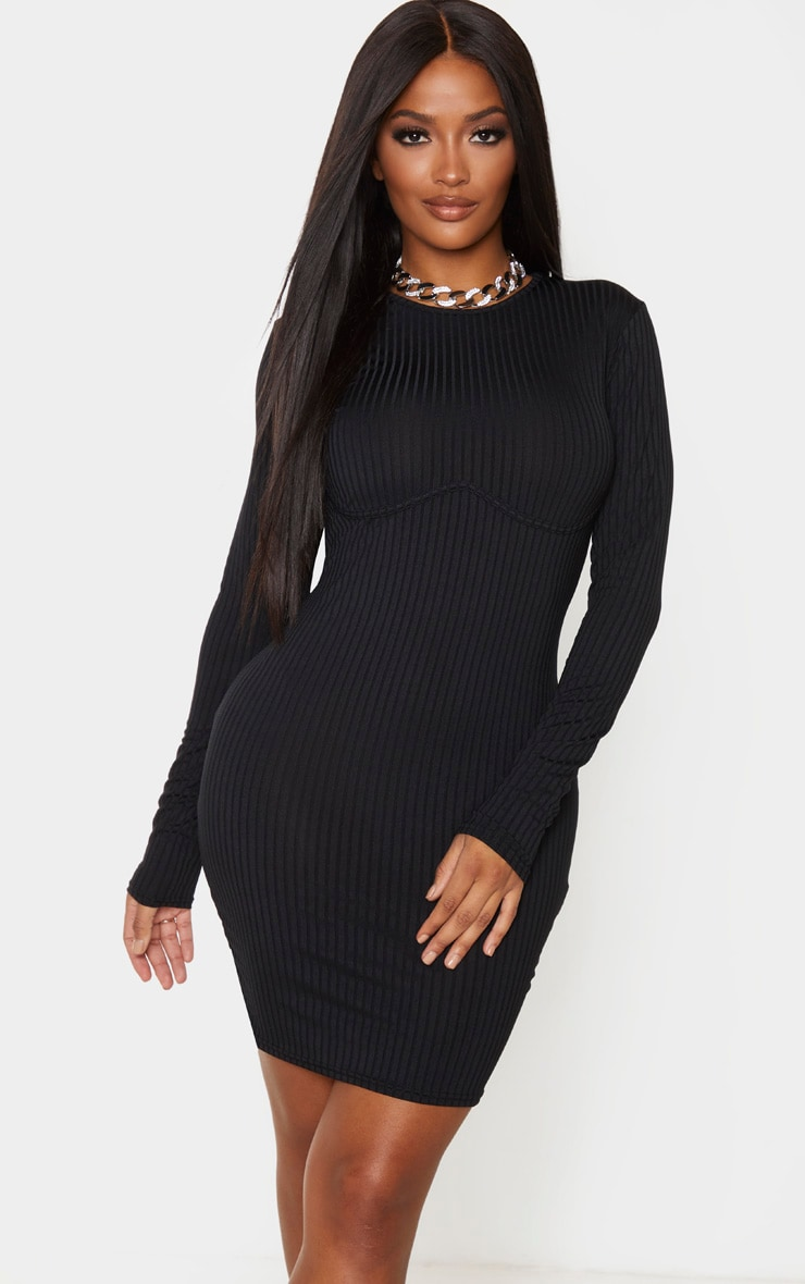 Shape Black Rib Underbust Detail Bodycon Dress 1