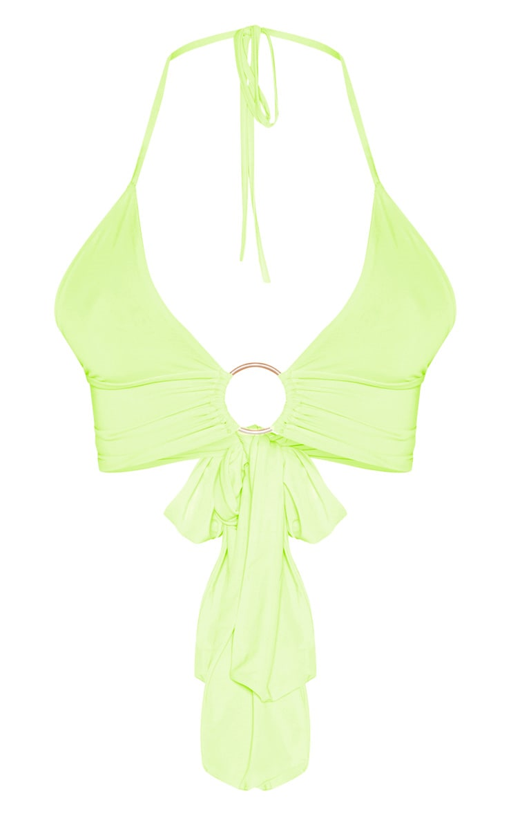 Neon Yellow Plunge Ring Detail Bralet 4