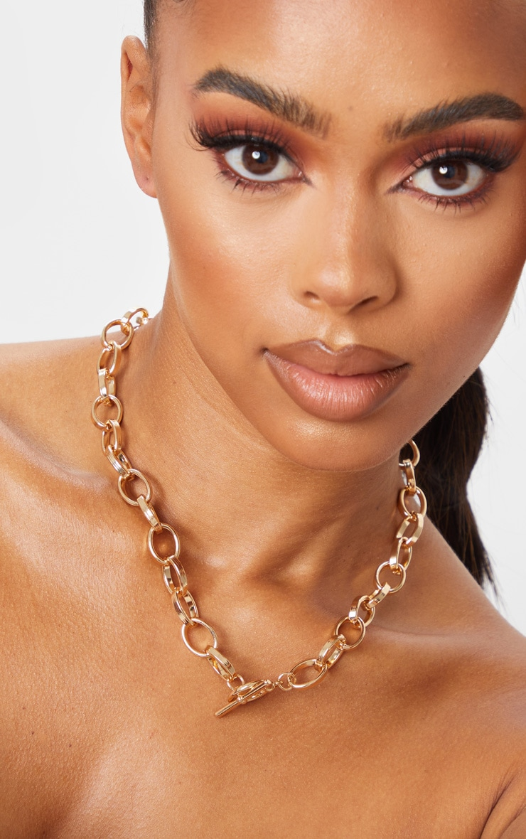 Gold Thick Hoop Chain Necklace 1