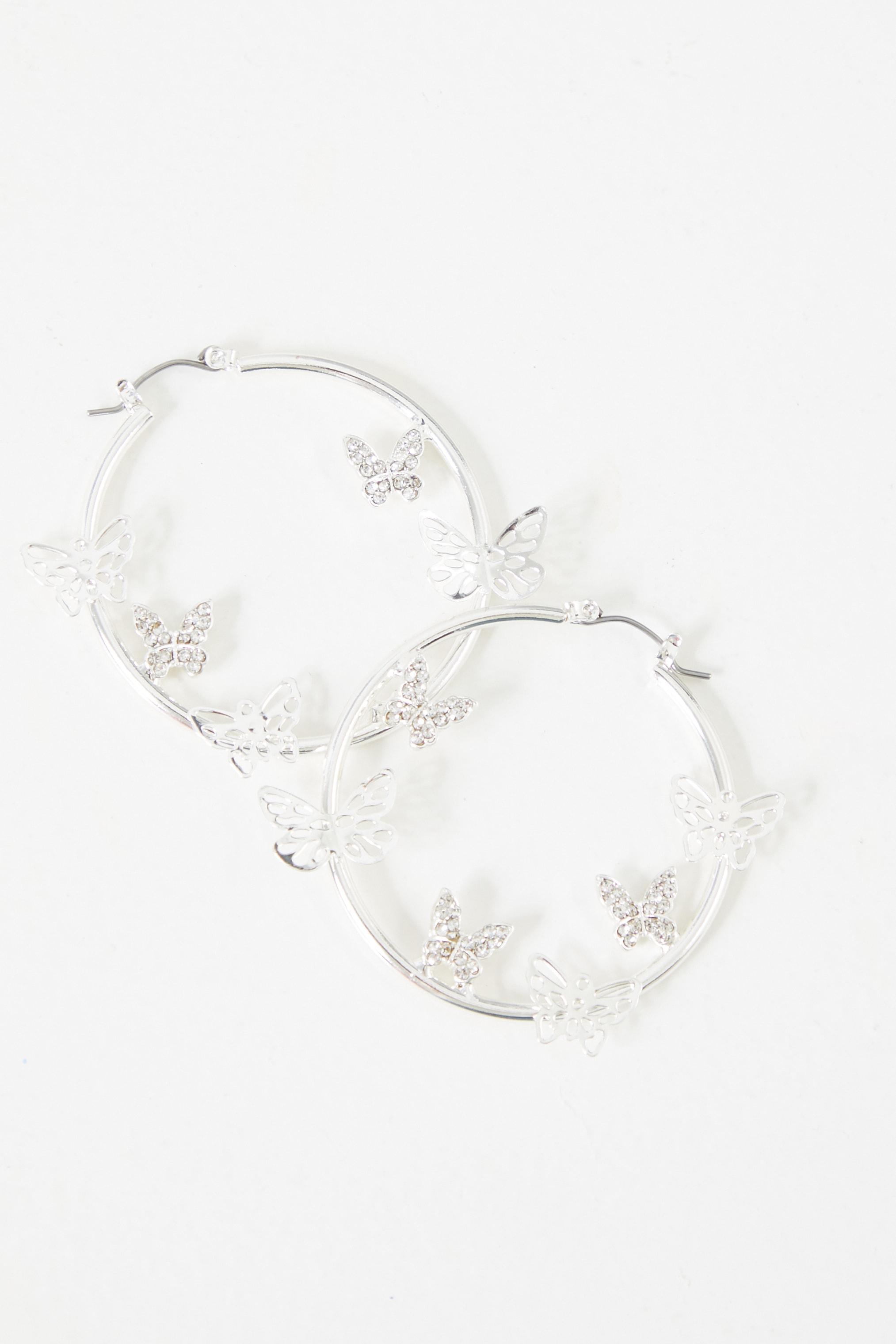 Silver Mixed Diamante Butterfly Hoop Earrings 2
