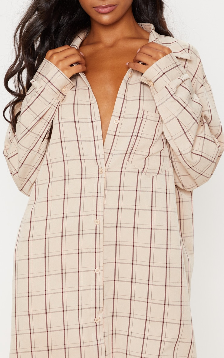 Beige Oversized Boyfriend Shirt Dress 6