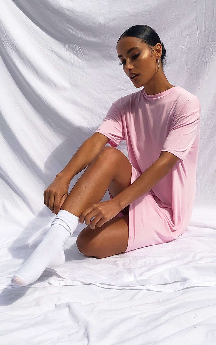 Pink Marl Basic Fitted T Shirt Dress 1