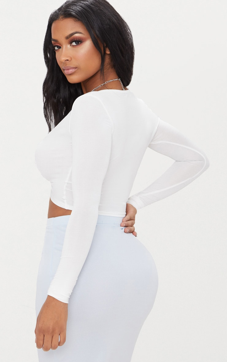 Shape White Slinky Twist Front Crop Top 2