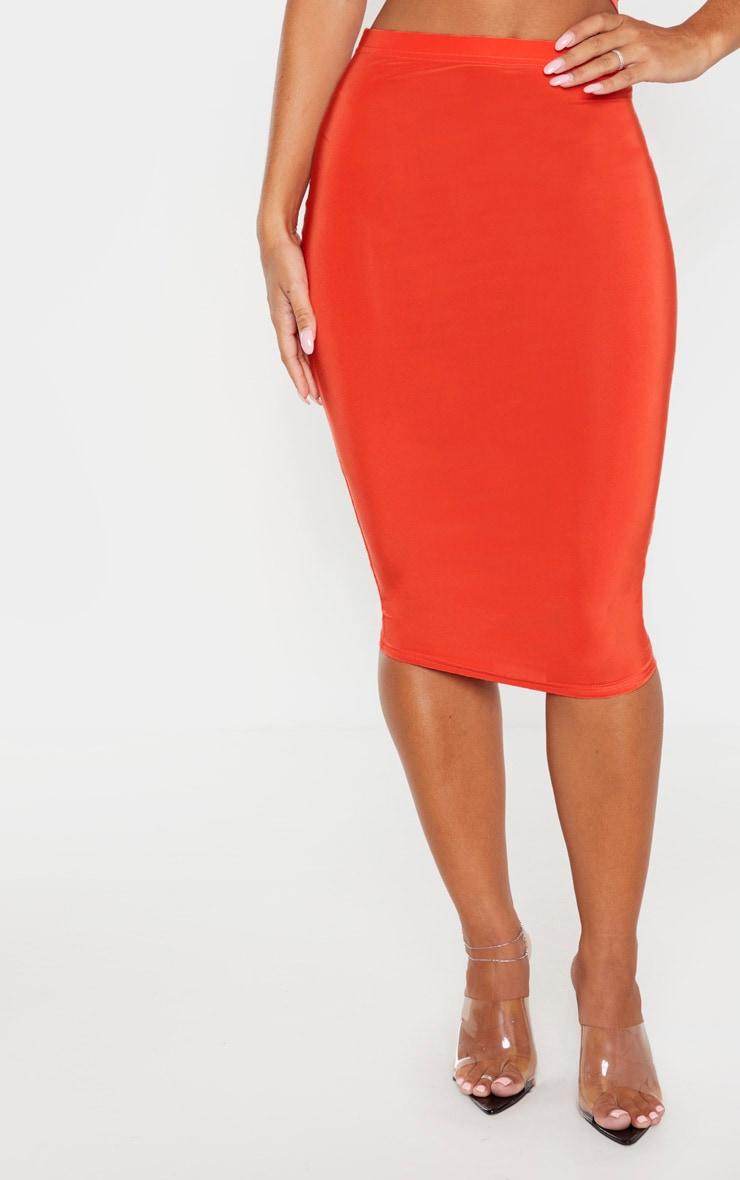 Bright Orange Slinky Midi Skirt 2