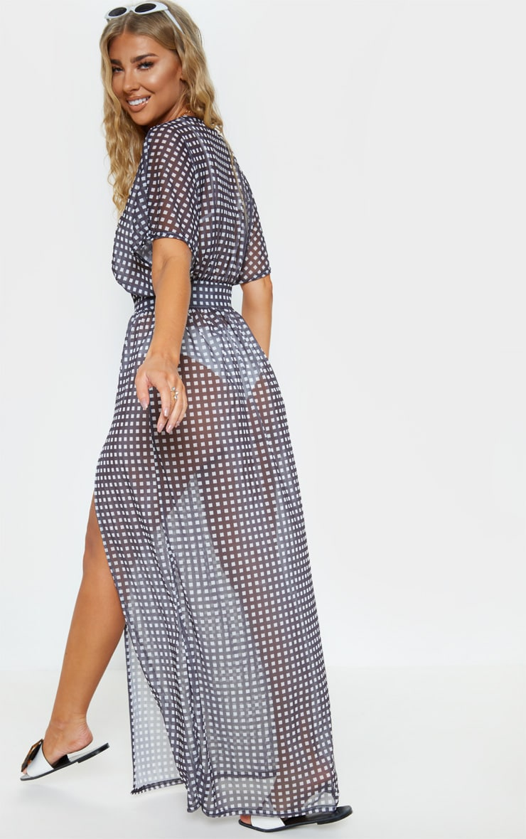 Monochrome Gingham Short Sleeve Beach Dress 2