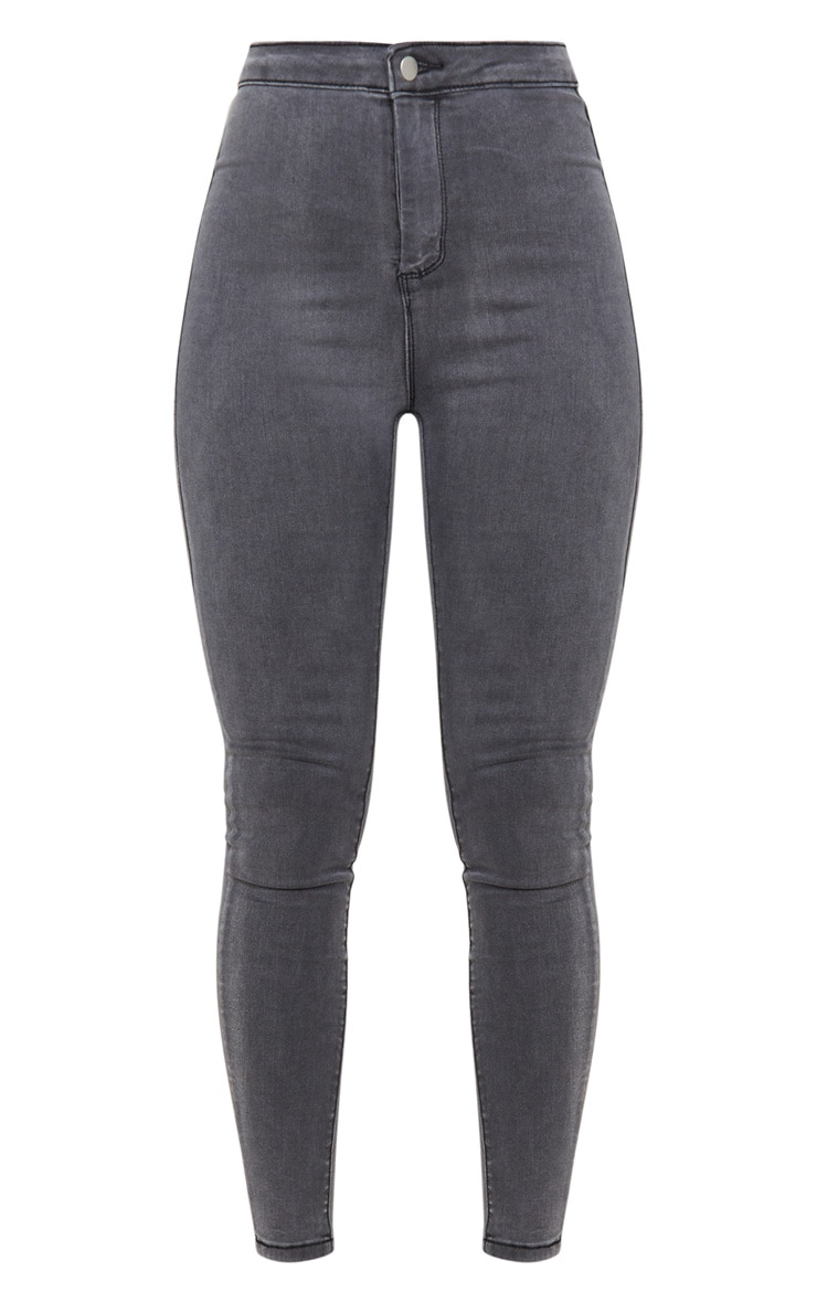 PRETTYLITTLETHING Grey Disco Skinny Jeans 3
