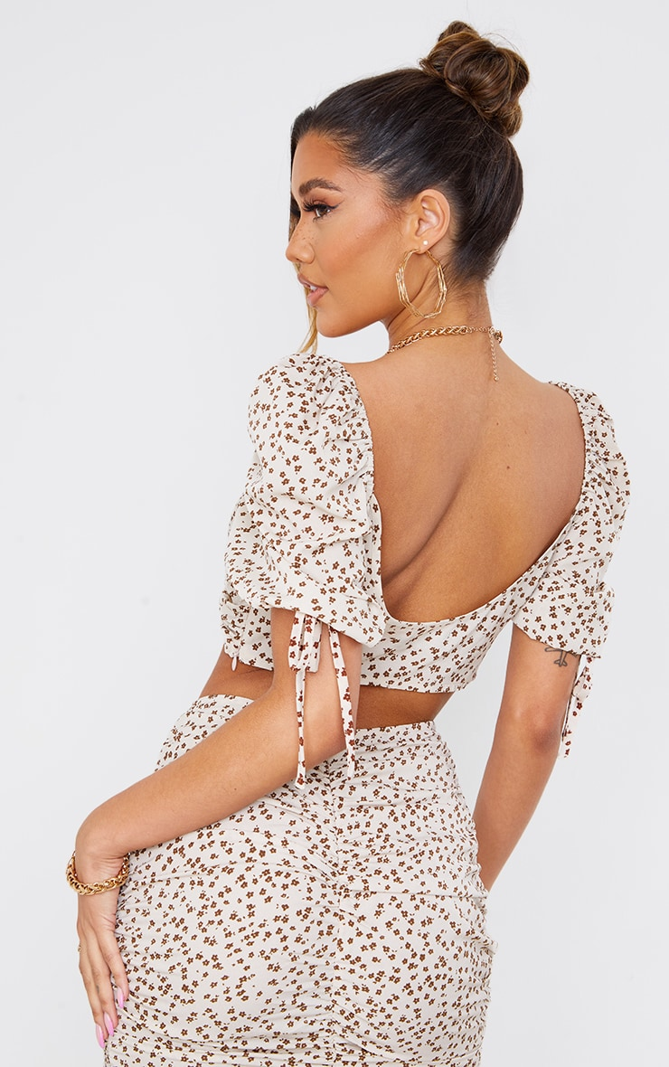 Cream Ditsy Floral Printed Woven Puff Sleeve Tie Detail Crop Top 2