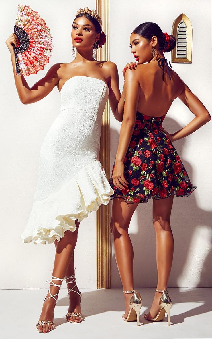White Jacquard Bandeau Asymmetric Frill Hem Midi Dress 7