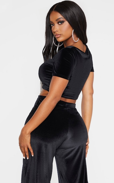 Shape Black Velvet Ruched Front Short Sleeve Crop Top