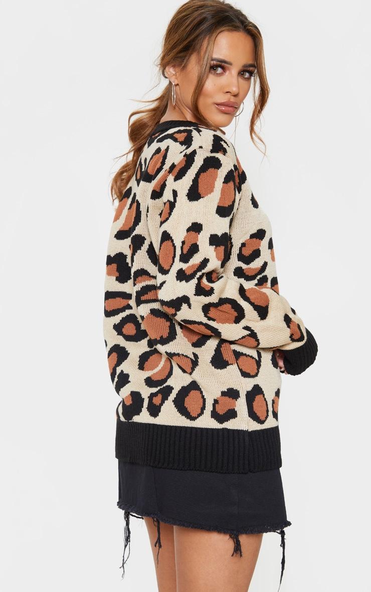 Petite Brown Leopard Print Jumper  2