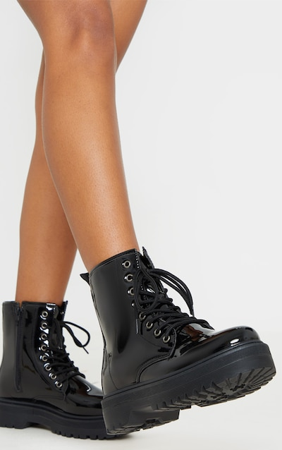 Black Patent Lace Up Chunky Ankle Boot