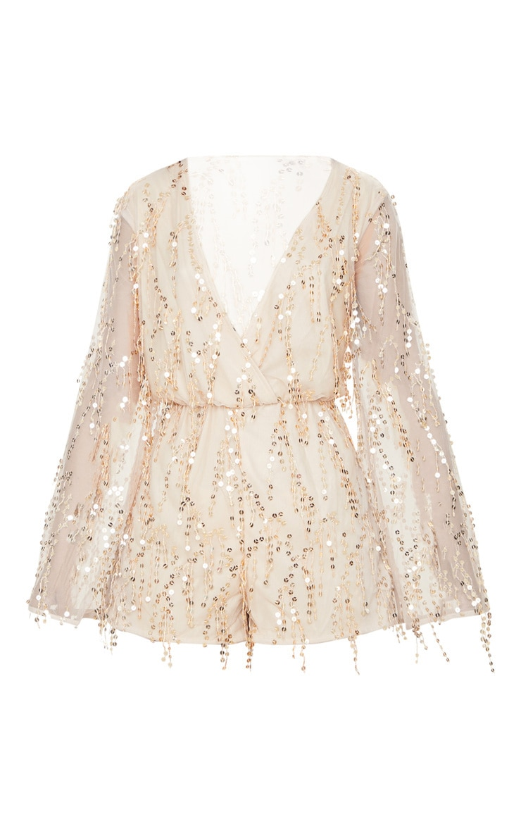 Gold Sequin Wrap Front Romper 1