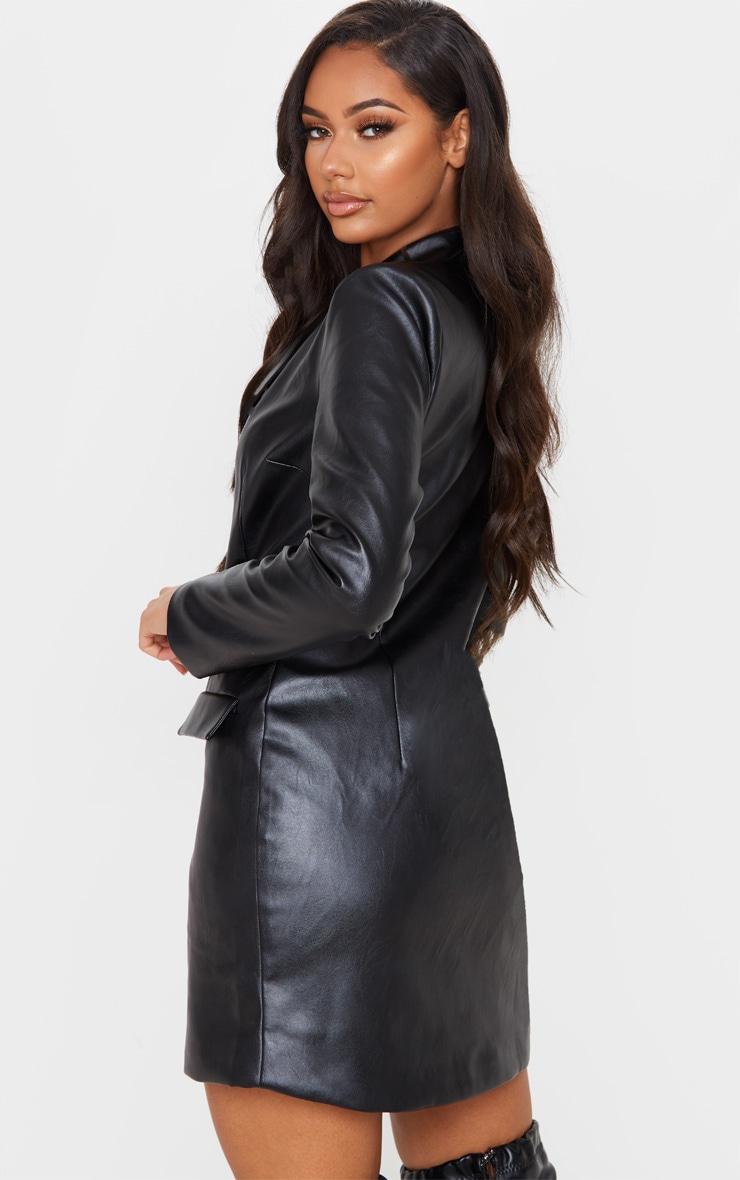 Black PU Gold Button Long Sleeve Blazer Dress 2