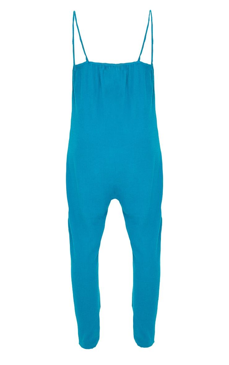 Petrol Blue Brushed Rib Strappy Pocket Jumpsuit 5