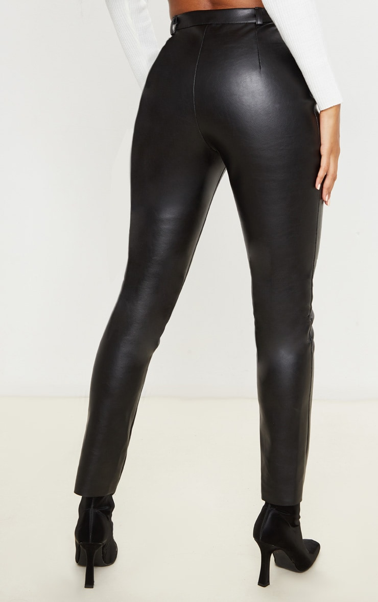 Black Faux Leather Straight Leg Pants 4