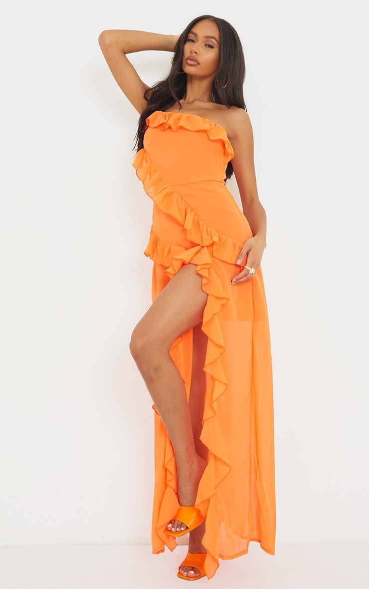 Bright Orange One Shoulder Frill Split Maxi Dress 1