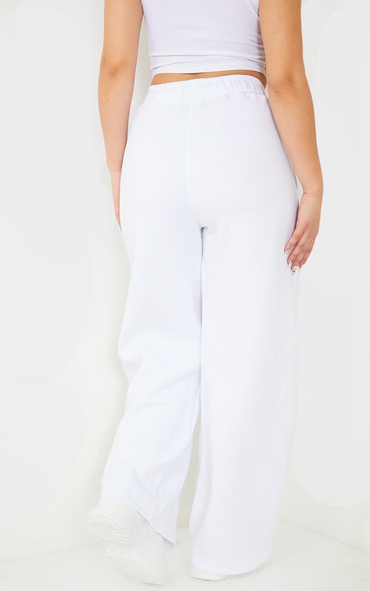 PRETTYLITTLETHING White Straight Leg Badge Detail Joggers 3