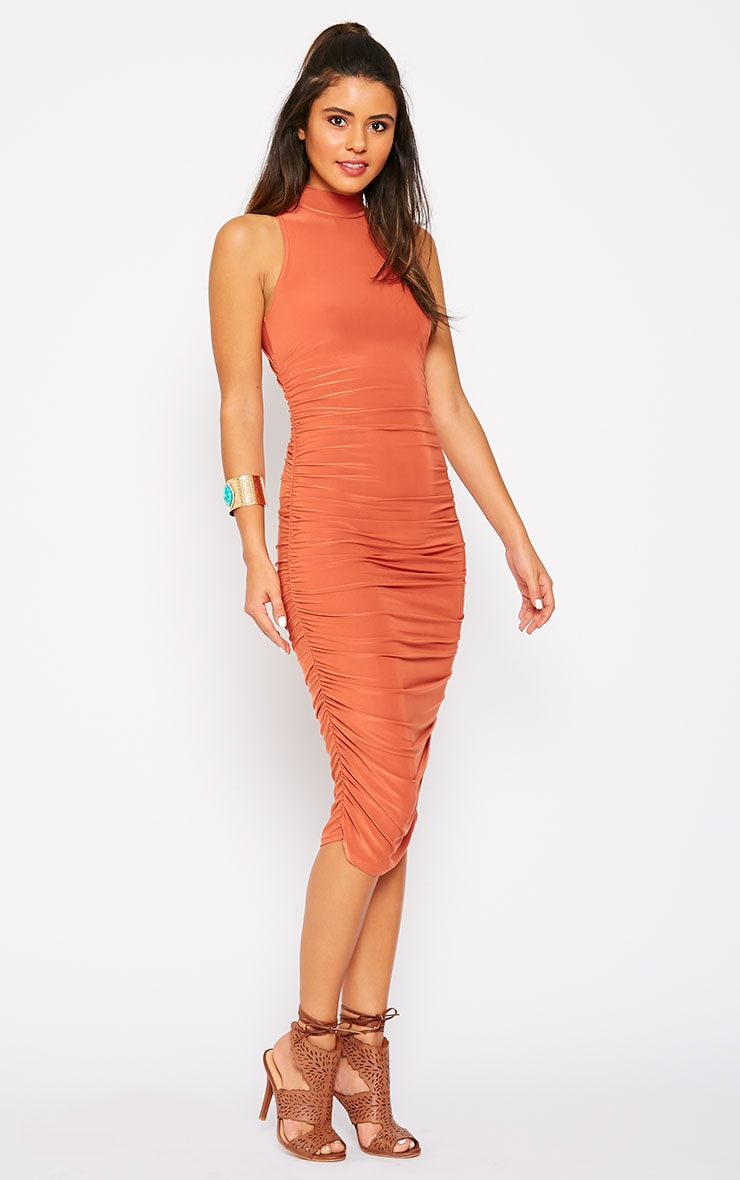 Alabama Rust Slinky High Neck Ruched Sides Dress 5