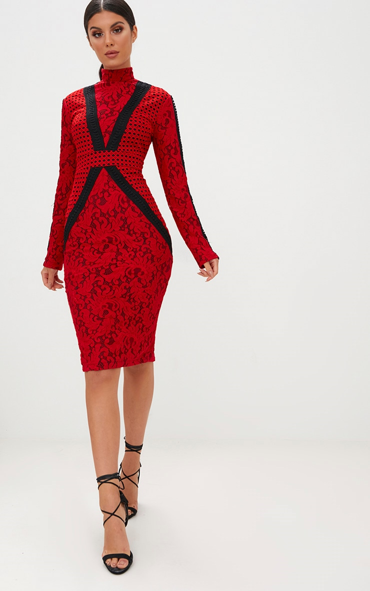 Red Crochet Lace High Neck Contrast Trim Midi Dress 1
