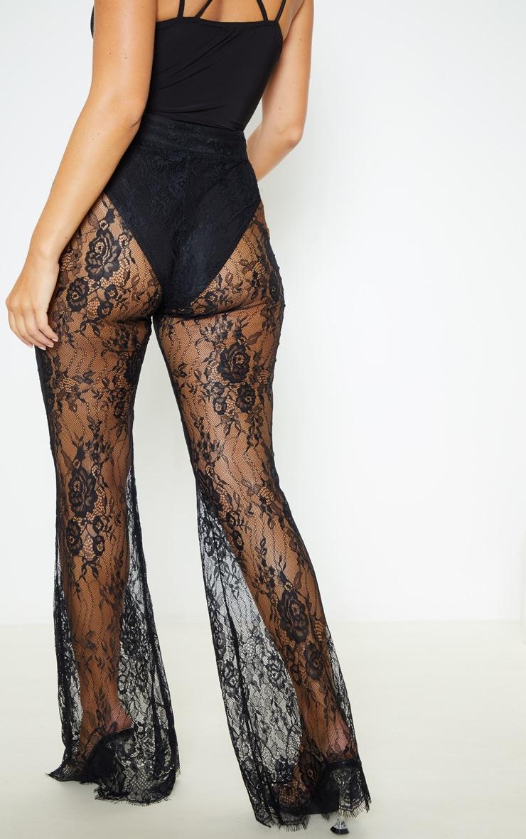 Black Lace Flare Leg Trouser 4