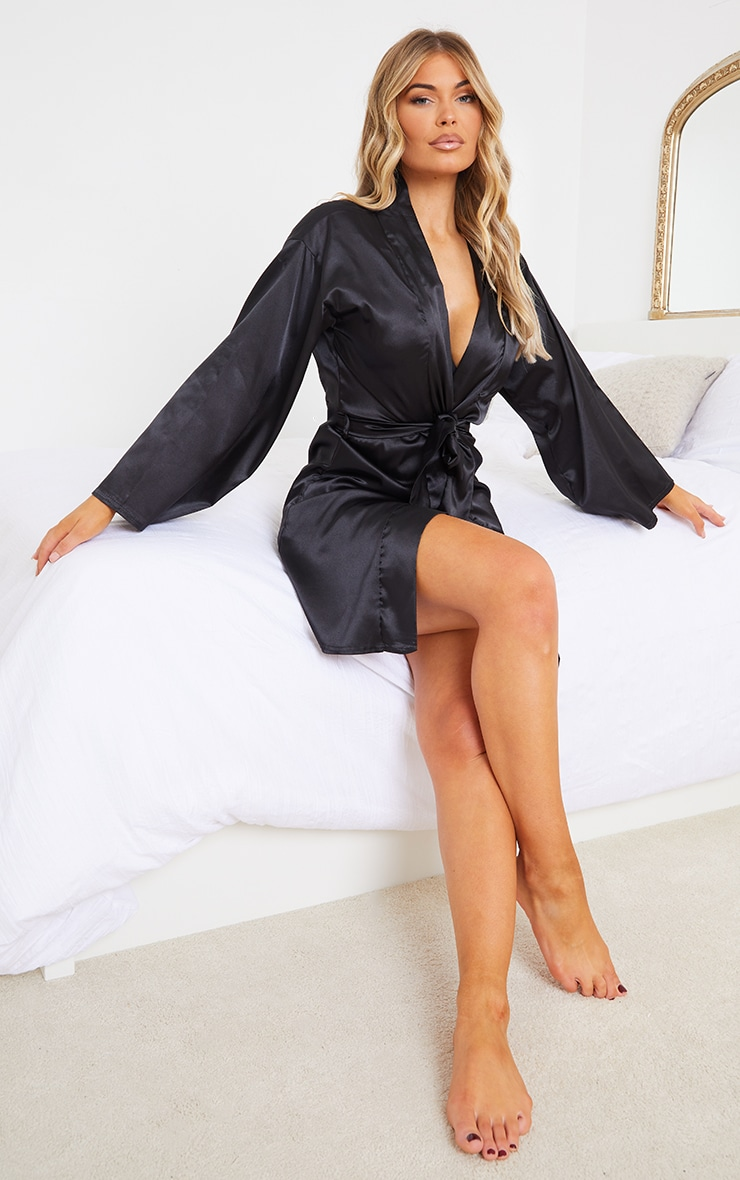 Black Satin Robe 3