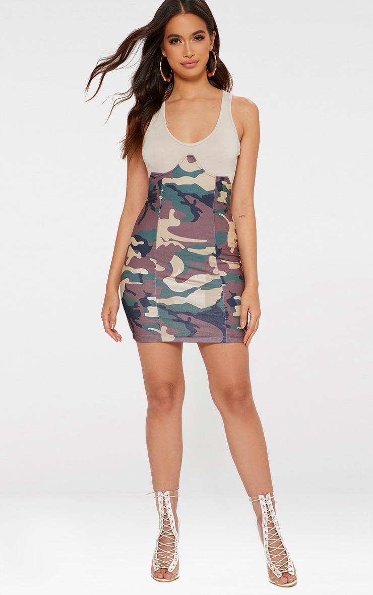 Khaki Camo Print Bustier Skirt 3
