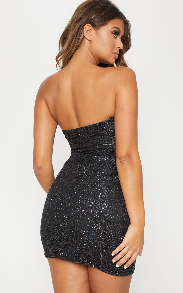 Black Glitter Bandeau Diamante Belt Bodycon Dress 2