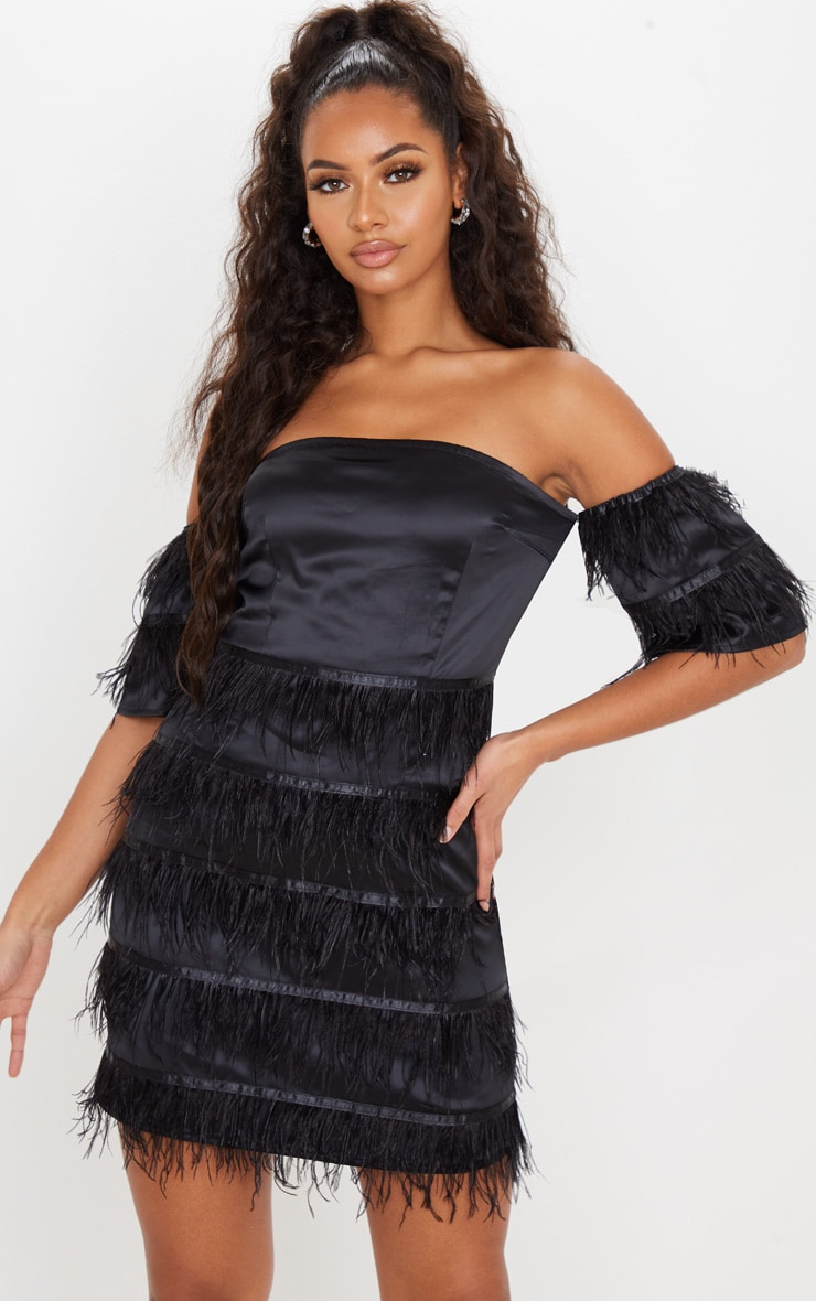 Black Satin Feather Tiered Bodycon Dress 1