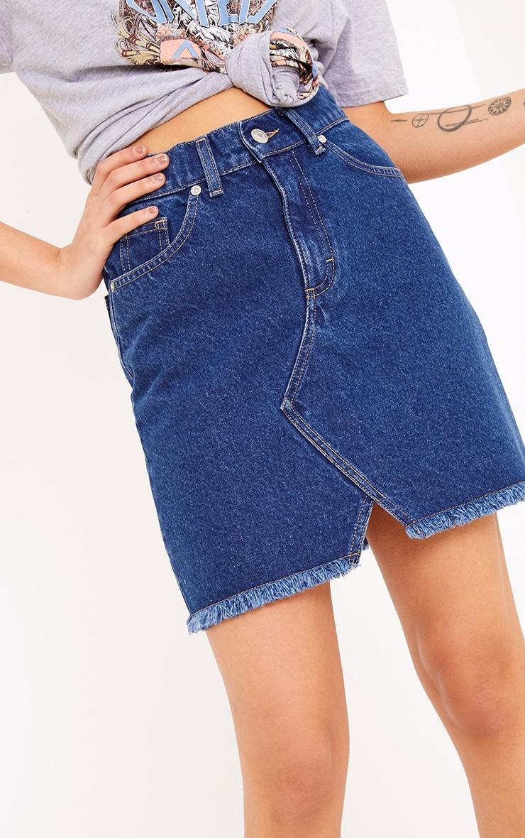 Hanele Mid Wash Fray Hem Denim Mini Skirt 5