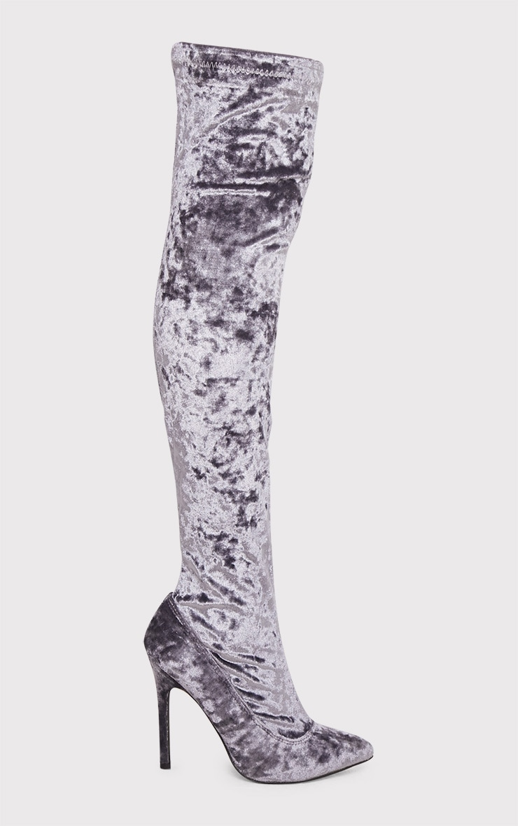 Christelle Grey Crushed Velvet Thigh High Heeled Boots 1