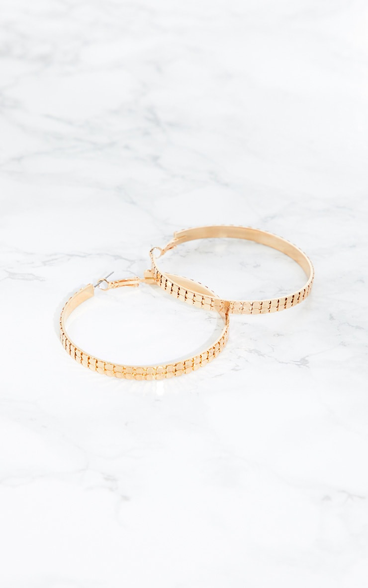 Gold Chain Mail Hoop Earrings 4