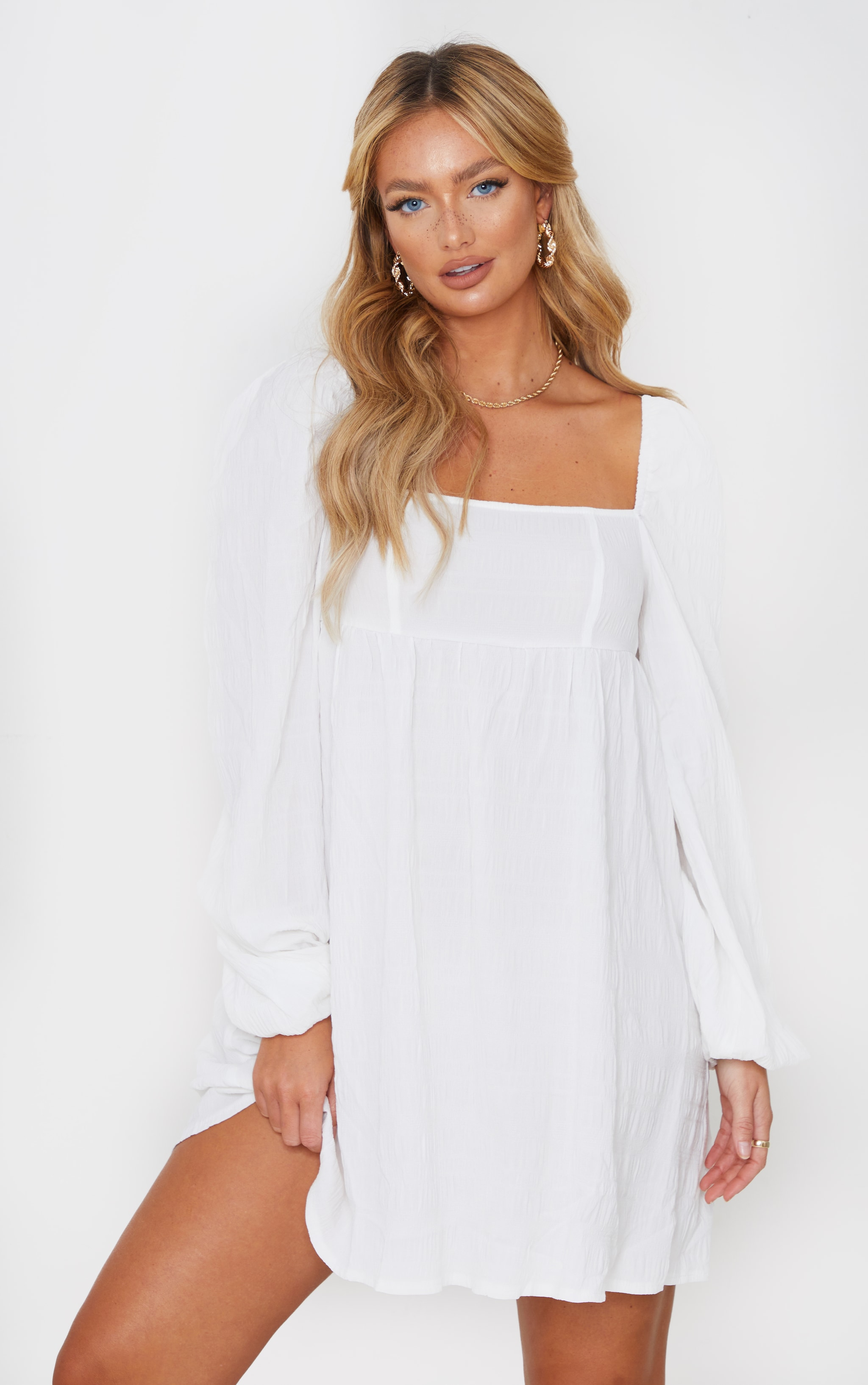 White Textured Square Neck Puff Sleeve Smock Dress 1