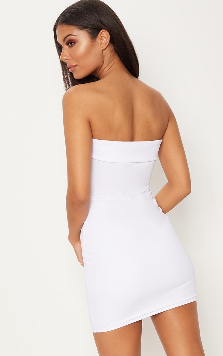 White Bandeau Fold Detail Bodycon Dress 2