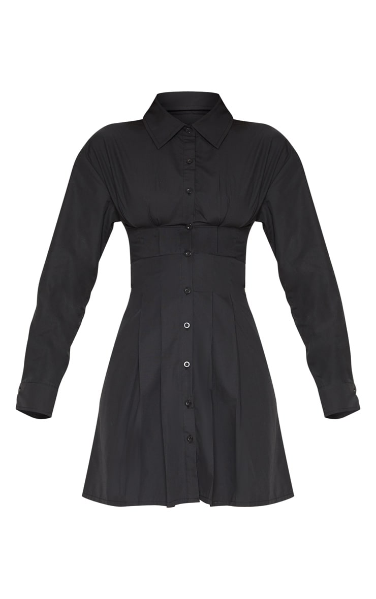 Black Pleated Waist Detail Shirt Dress 4