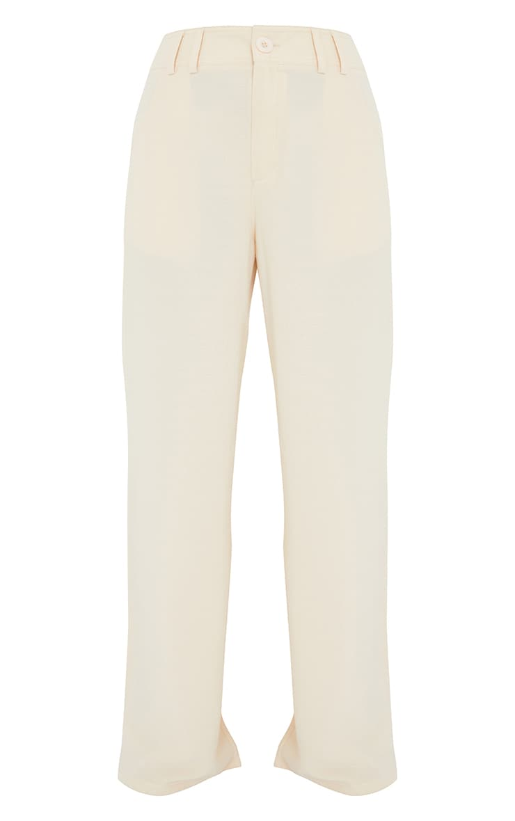 Petite Cream High Waisted Pocket Detail Trousers 5
