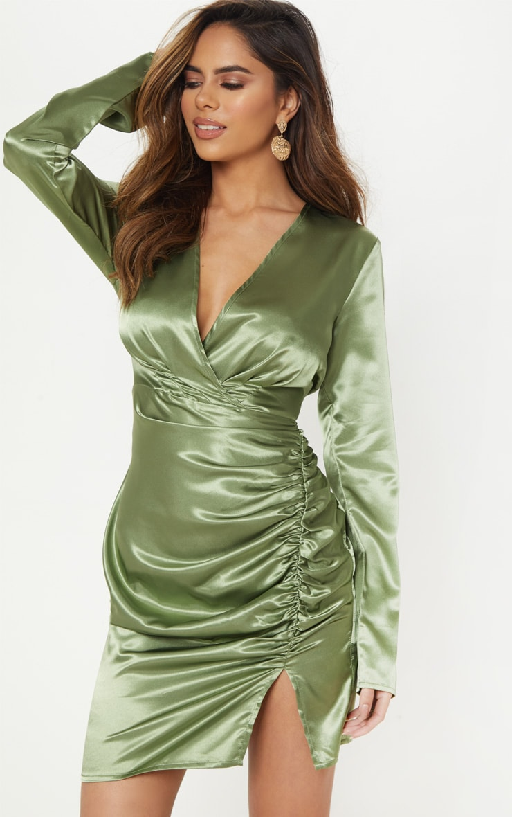 Olive Satin Wrap Plunge Dress Dresses Prettylittlething Usa