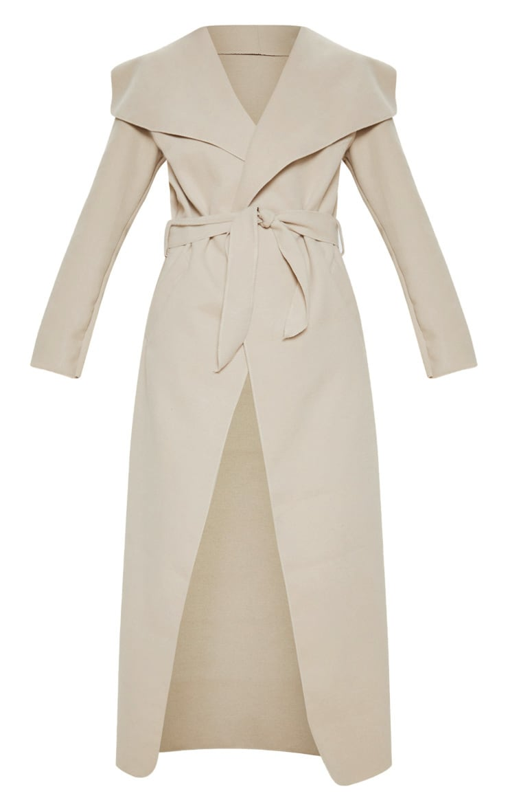 Stone Maxi Length Oversized Waterfall Belted Coat 3