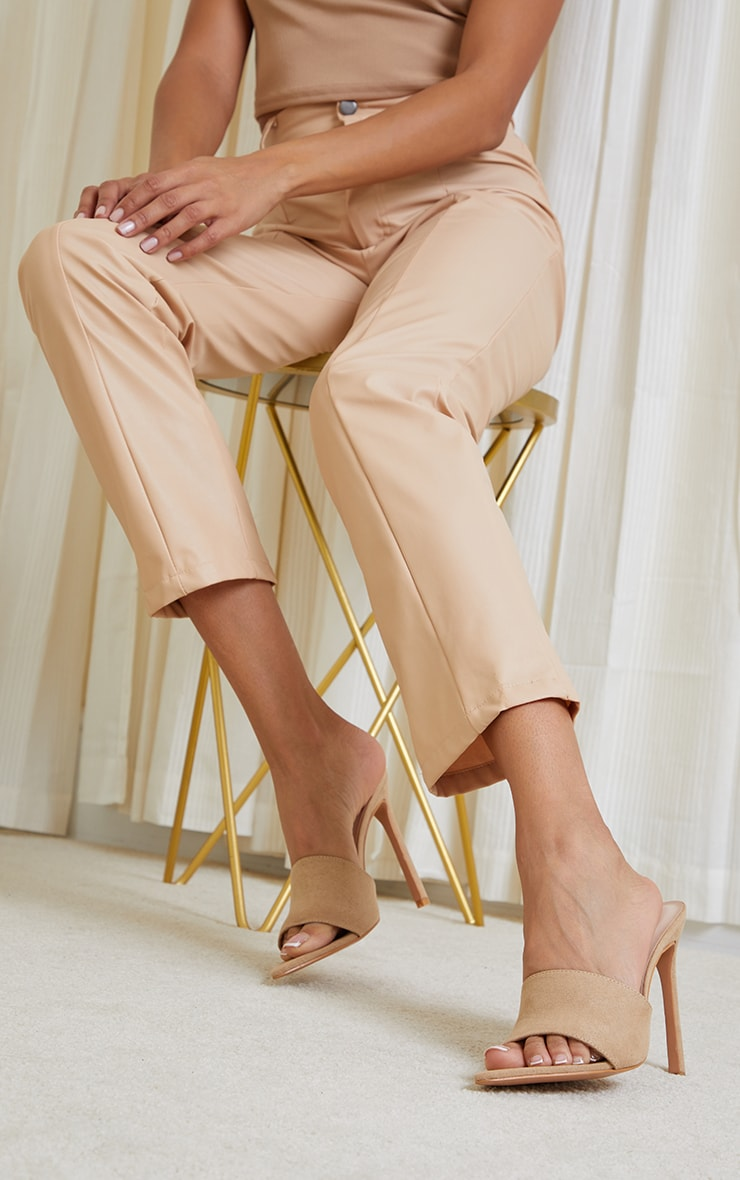 Sand Faux Suede Strap Point Toe High Heels 1