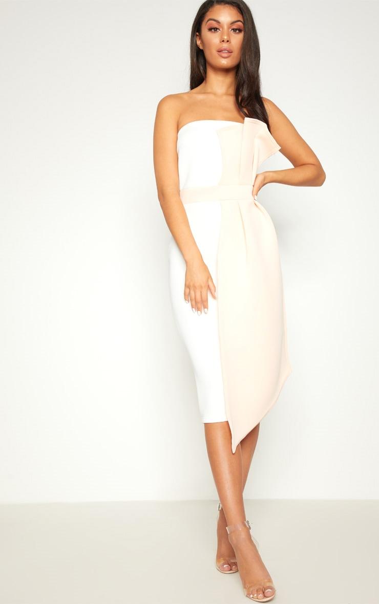 Nude Contrast Pleated Detail Midi Dress  1