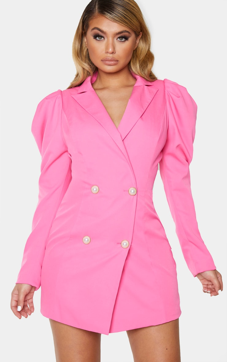 Hot Pink Puff Sleeve Pearl Button Blazer Dress 1