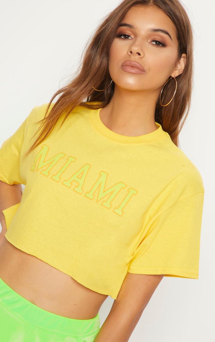 Yellow Miami Slogan Cropped T Shirt 5