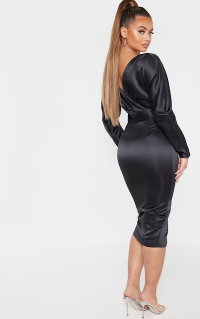 Black Bonded Satin Bardot Puff Sleeve Midi Dress