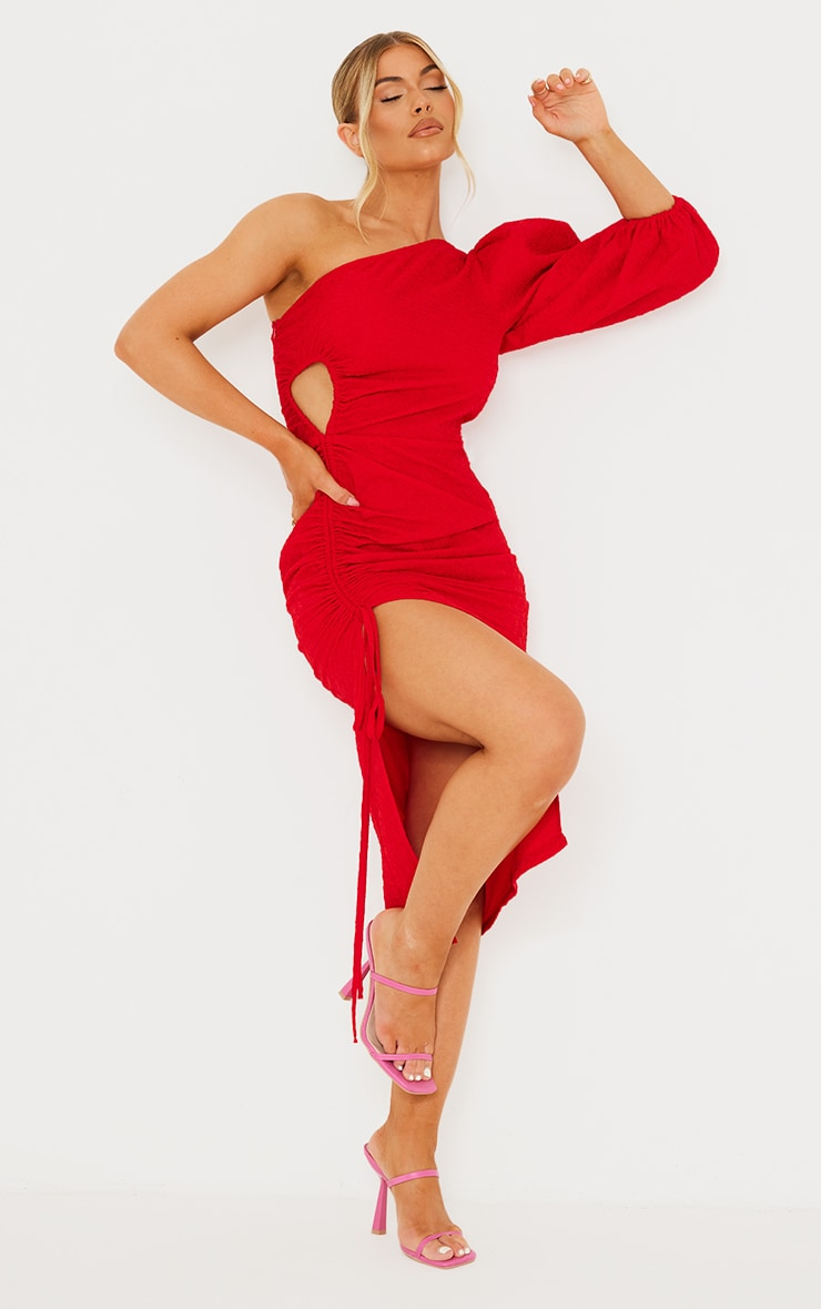 Red Crinkle Ruched One Shoulder Cut Out Midi Dress 1