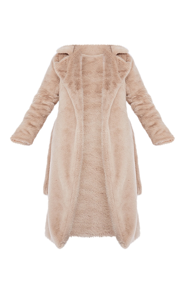 Petite Taupe Belted Faux Fur Coat 5
