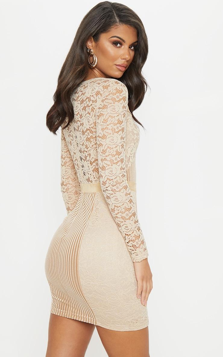 Nude Lace Velvet Insert Bodycon Dress 2